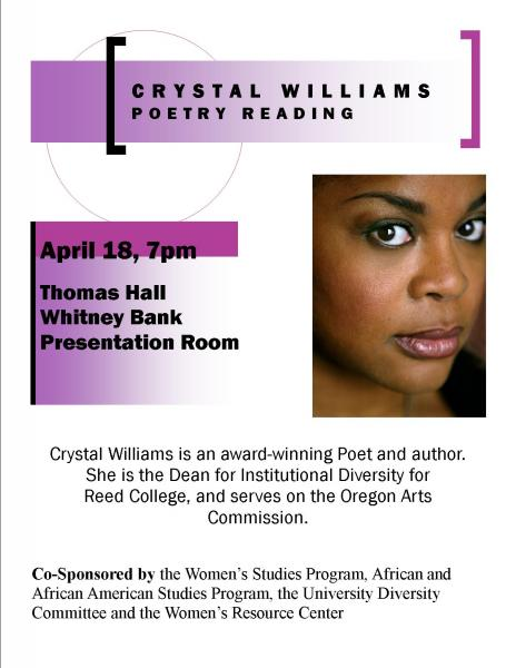 Crystal Williams poetry reading