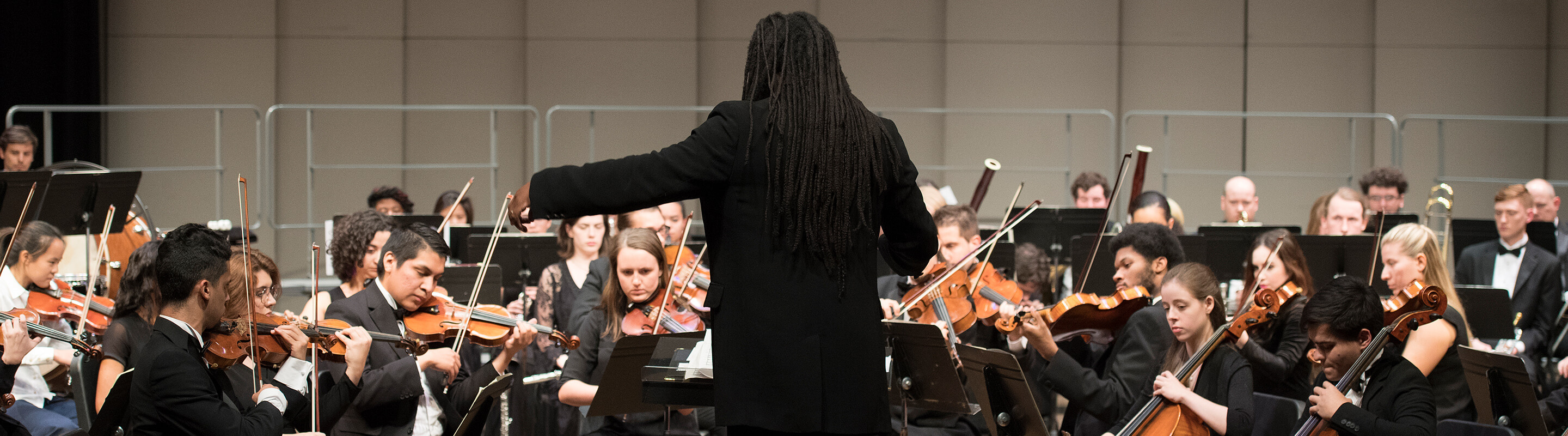 Conductor with back to the camera and orchestra playing