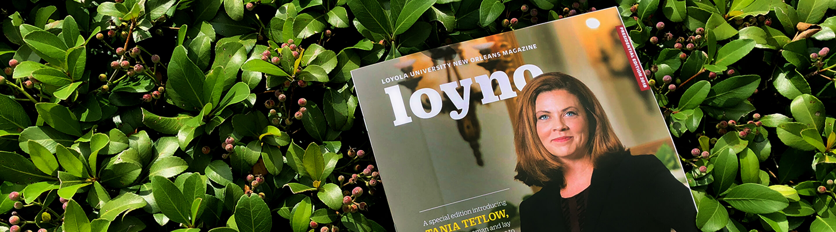 Presidential issue of loyno sitting among foliage