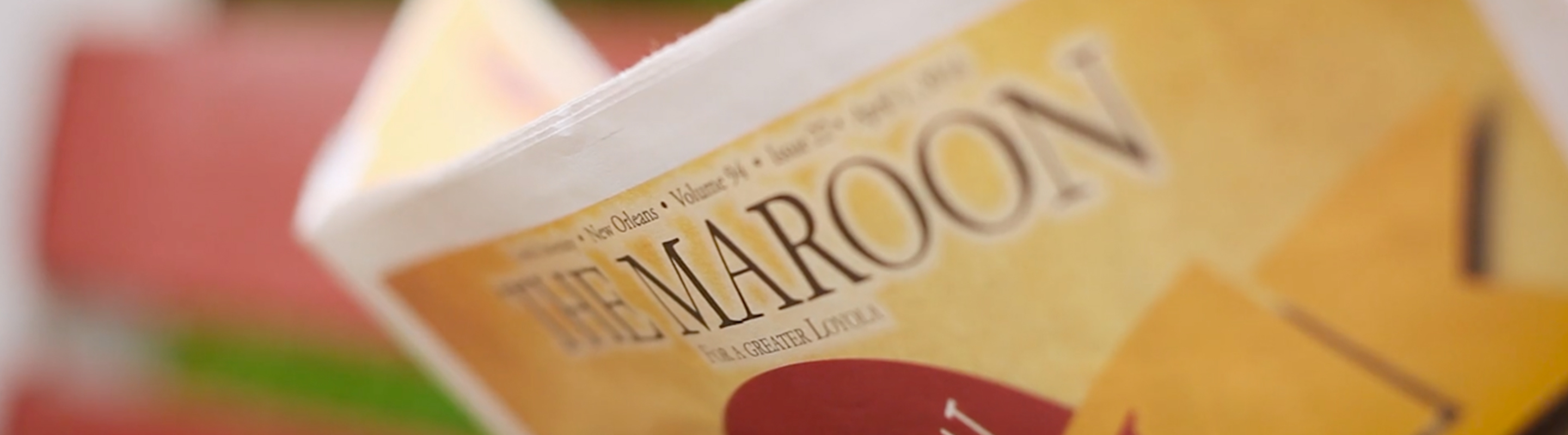 Close up of the maroon newspaper