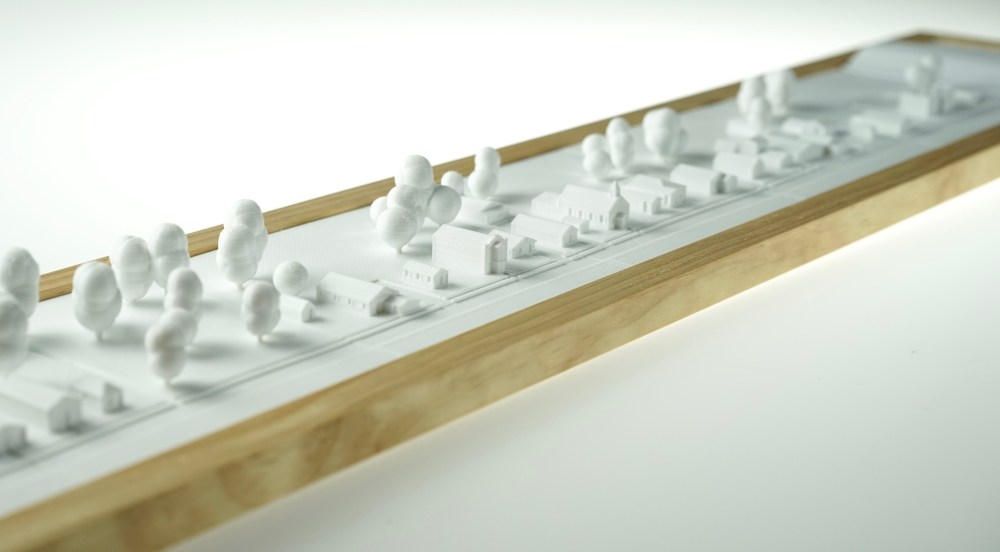 Angled photograph of 3D printed village