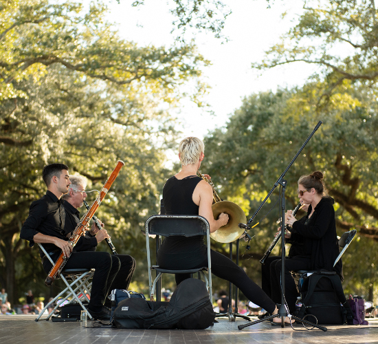 Loyola Faculty Woodwind Quintet performing in Audubon Park