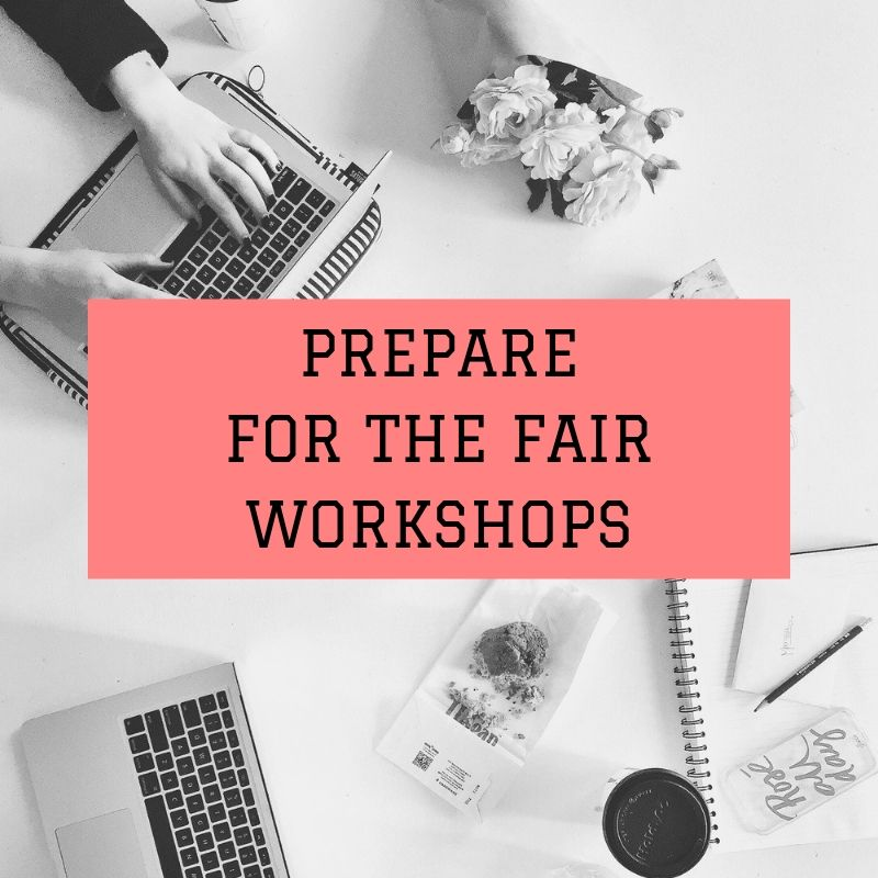 "gray graphic with words ""prepare for the fair workshop"" in the middle"