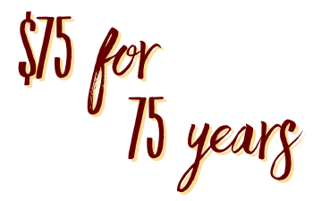 $75 for 75 years logo